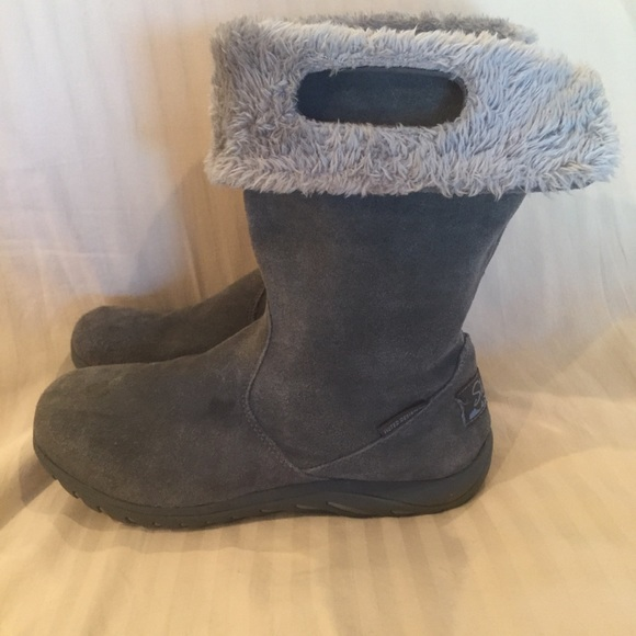 Details about SKECHERS SHAPE UPS XF Avalanche Chocolate Suede Fur Lined Winter Boots Size 10